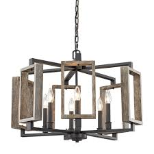 Home Decorators Collection Lighting by Home Decorators Collection 6 Light Aged Bronze Pendant With Wood