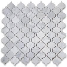 carrara marble mosaic tile white mini lantern shaped arabesque