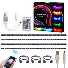 WOWLED WiFi Smart USB RGB LED TV Backlight Strip Compatible With Alexa And Google Home 4pcs Flexible RGB 5050 Strips Light DC 5V Colour Changing