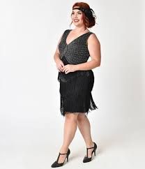 Unique Vintage Plus Size 1920s Black Silver Beaded Renee Fringe Cocktail Dress