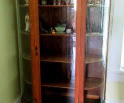 Antique Curio Cabinet Curved Glass Tag 32 Rare Antique Curio