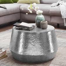 wohnling couchtisch mahesh 60x36x60 cm aluminium beistelltisch silber orientalisch rund flacher hammerschlag sofatisch metall design