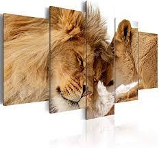 decomonkey bilder löwe afrika 100x50 cm 5 teilig leinwandbilder bild auf leinwand wandbild kunstdruck wanddeko wand wohnzimmer wanddekoration deko