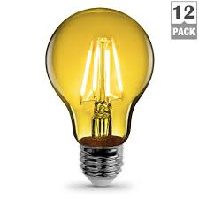 feit electric 3 6 watt yellow a19 filament led light bulb of