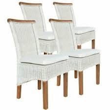 details zu voglrieder esszimmer stühle set rattanstühle perth 4 stück weiß sitzkissen lein