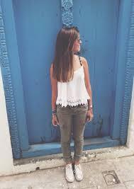 Top Tank White Lace Jeans Khaki Pants Denim Shoes Converse