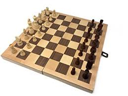 Hansen Games Classic Natural Wood Wooden Chess Set 15 Inlaid Board With Hand Carved Chessmen