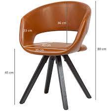 esszimmerstuhl kunstleder braun mit schwarzen beinen stuhl retro küchenstuhl mit lehne polsterstuhl maximalbelastbarkeit 110 kg