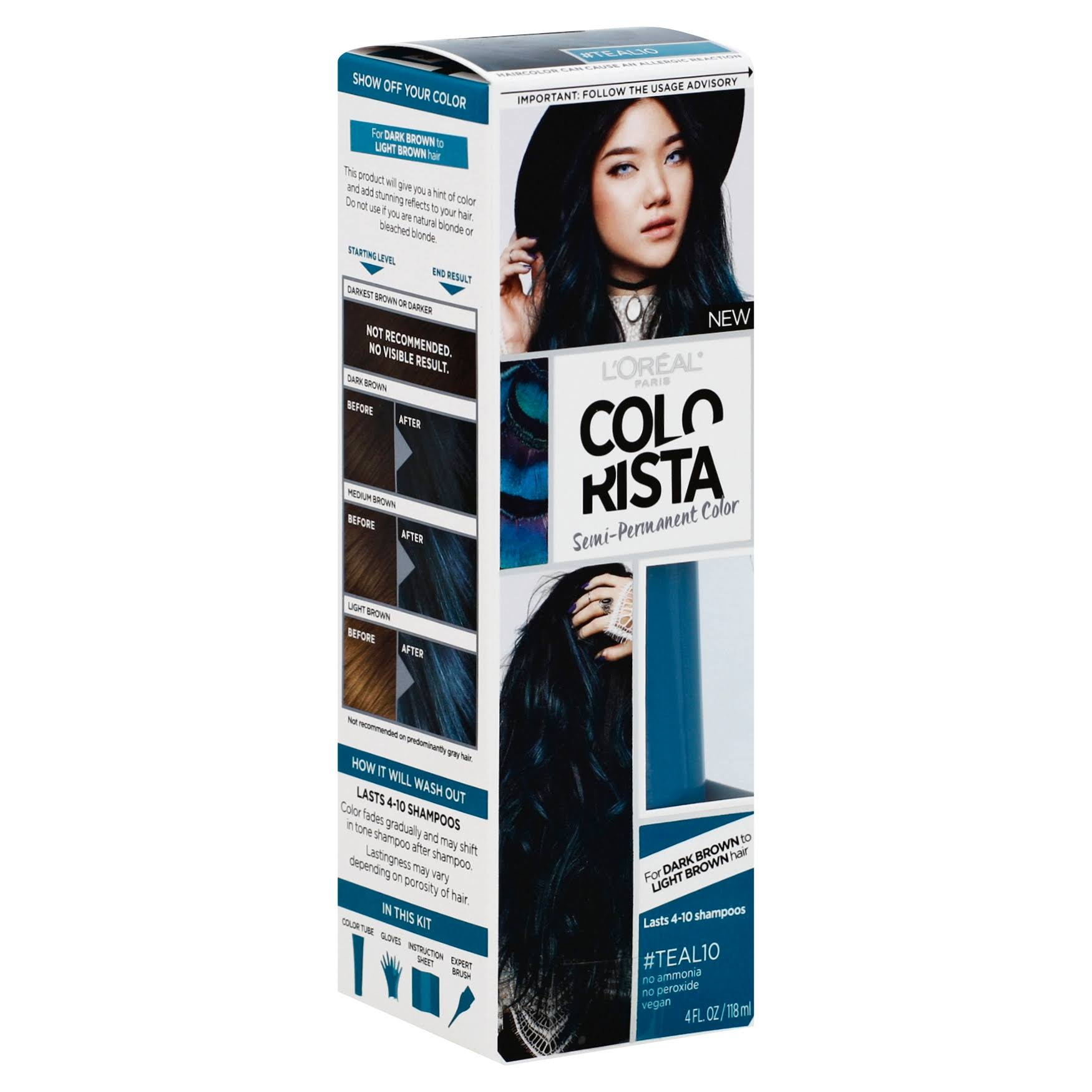 L'oreal Paris Colorista Semi Permanent Color - #Teal10, 4oz