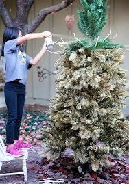 Spray Painting Christmas Tree Gold