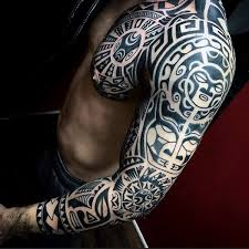 Cool Tribal Arm Sleeve Tattoos For Guys