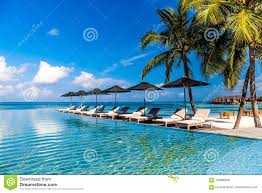 100 Maldives Infinity Pool Luxury Side And Beach In Blue Sky And Amazing