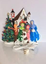 Vintage Atlantic Mold Ceramic Christmas Tree by Vintage Ceramic Christmas Tree Carolers Church Light Up Scene