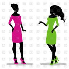 Silhouette Of Women In Green And Pink Dress Royalty Free Vector Clip Art