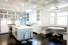4x12 subway tile kitchen contemporary with banquette seating bay