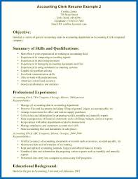 Resume Skills For Accounting Clerk Example Objective Summary Of And Qualifications Sample