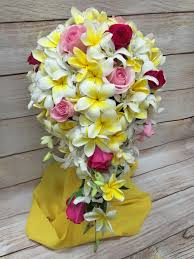 Pink Rose White Orchid Cascade Yellow Plumeria Tropical Wedding Bouquet