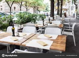 Street Cafe Tables Chairs Cozy Outdoor Dinner Plate Setting Stock Photo