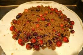 Brown Sugar And Cranberry Mixture On The Pastry Crust