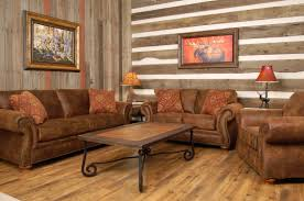 Furniture Rustic Living Room With Wooden Floor And Wall Leather Sofa