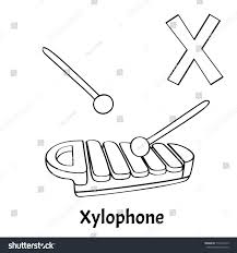 Vector Alphabet Letter X Coloring Page Xylophone