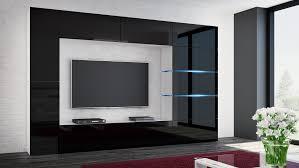 wohnwand shadow schwarz hochglanz weiß 285 cm mediawand anbauwand medienwand design modern led beleuchtung mdf hochglanz stehend tv wand