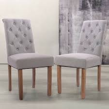 Set Of 2 PC Wood Chairs Soft High Back Tufted Parsons Chair For Dining Room  Gray