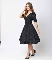Unique Vintage 1950s Black White Dot Delores Swing Dress With Sleeves
