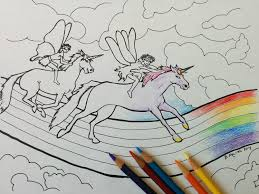 Unicorn Coloring Page Whimsical Fairy Race Printable