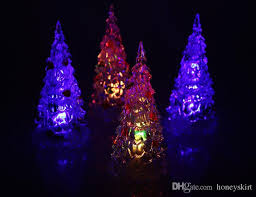 Acrylic Artificial Flocking Christmas Tree LED Multicolor Lights Silicone Colorful Holiday Window Decorations Wholesale