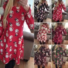womens ladies dress long sleeves xmas women clothes santa gifts