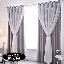 2pcs fenstervorhang ausgehoehlt sterne shading vorhang drapieren purdah fuer zu hause wohnzimmer schlafzimmer