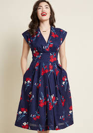 Emily And Fin Saunter Sweetly Midi Dress In Navy