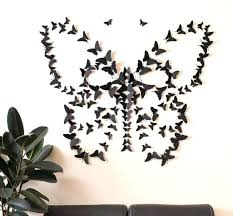 Butterfly Wall Art Decor Paper Black For Living