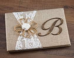 Rustic Guest Book Burlap Lace Wedding