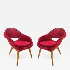 Leer En Línea Pair Of Red Velvet Armchairs In The Style Of RIMA