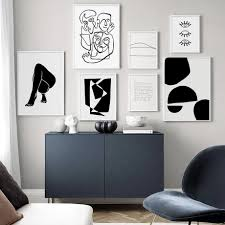 100 Contemporary Scandinavian Design Abstract Bodyform Minimalist Nordic Gallery Wall Art Black And White Fine Art Canvas Prints For Modern Style Interior Home Decor