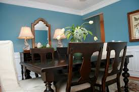 Dining Room Dark Brown Wooden Set On The Rug Connected By Blue Wall Theme
