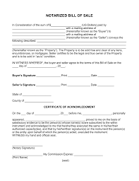 Free Notarized Bill of Sale Form PDF Word