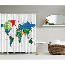 Amazon World Map Shower Curtain by Ambesonne Geologist Gifts