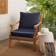 Shop Sunbrella Navy With Ivory Indoor/ Outdoor Chair Cushion And ... Outdoor Chair Cushions Ding 20 X Walmart Replacement Patio Ed Inoutdoor Sunbrella Cushion Reviews Joss Main Home Decators Collection 215 X Canvas White High Sale Dolce Mango Contour Pads For Your Inspiring Outdoorpatio Cast Silver Carmel Back Fabric 100 Decorating Ideas Good Looking Small Clearance Decor Editorialinkus Fniture Forest Green Amazoncom 2pack 24 In H W