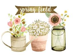 Flowers Clipart Watercolor Rustic Wedding Country Floral Mason Jar Spring From Rosabebe On