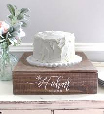 Rustic Wedding Cake Stand With Personalized Names