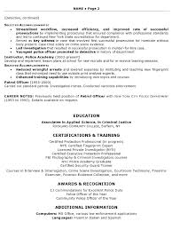 Resume Sample Law Enforcement Professional Certifications And Training