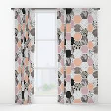 Tropical Window Art Curtains by Hexagons Window Curtains Society6