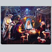 6ft Fiber Optic Christmas Tree Uk by 40cm X 30cm Premier Nativity Scene Fibre Optic Wall Canvas Picture