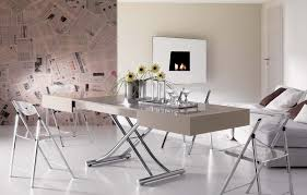 Multi in Cream Glass height adjustable extending table