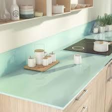 plan de travail cuisine en verre plan de travail sur mesure verre laqué eau marine ep 15 mm