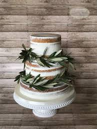 Semi Naked Cake With Olive Branches For Rustic Mountain Wedding