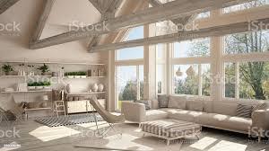 wohnzimmer luxusökohaus parkettboden und hölzernen dachstühle panoramafenster auf frühling sommerwiese modernem weißen design stockfoto und mehr